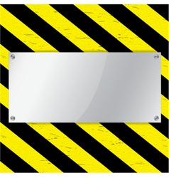 Metal frame on warning stripe background vector image