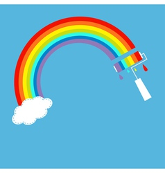 Rainbow one cloud in the sky and paint roller vector image vector image