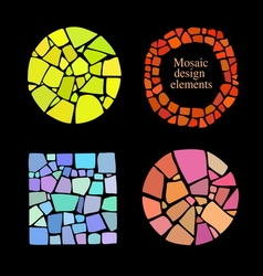 Set of 4 mosaic elements vector image