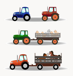 Set of tractors with trailers carrying animals vector