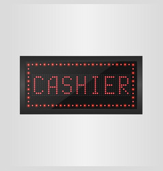 shining retro light banner cashier sign vector image vector image