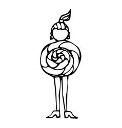caricature lollipop female body shape sketch hand vector image vector image