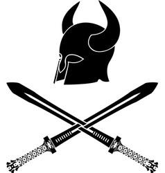 fantasy barbarian helmet with swords stencil vector image vector image