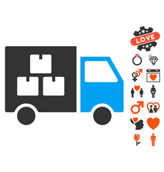 goods transportation car icon with valentine bonus vector image