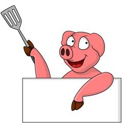 pig chef cartoon character vector image vector image
