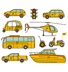 taxi line icons set vector image