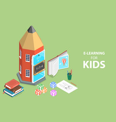 3d isometric flat concept e-learning for vector image