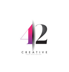 42 4 2 grey and pink number logo with creative vector