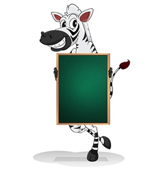 A zebra holding an empty board vector