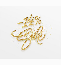 Advertising with sale golden lettering valentines vector