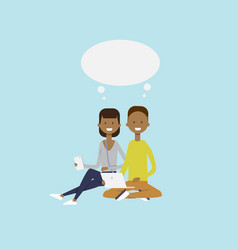 African man woman using laptop sitting couple chat vector