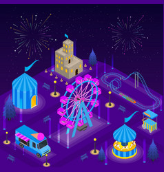 amusement park card poster concept 3d isometric vector image