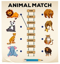 Animal matching with pictures and words vector