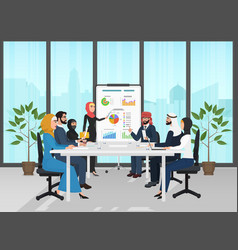 arab muslim business people group presentation in vector image