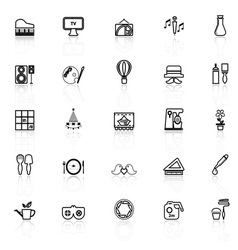 Art activity line icons with reflect on white vector image
