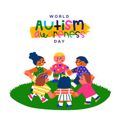 Autism awareness day children friend retro cartoon vector