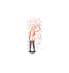 autumn rain umbrella season weather concept vector image