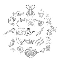 avifauna icons set outline style vector image