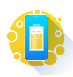 battery charge icon high level yellow indicator vector image
