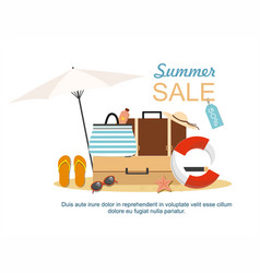 beach accessories and summer suitcase vector image