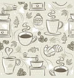 Beige seamless patterns with coffee set cup vector