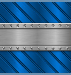 Blue metal background stainless steel texture vector
