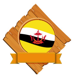 Brunei flag on wooden board vector