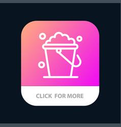 Bucket cleaning floor home mobile app button vector