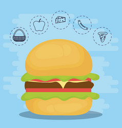 Burger for family summer picnic vector