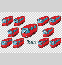 Bus autobus collection set neutral background vector