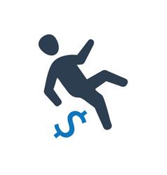 Businessman falling icon vector
