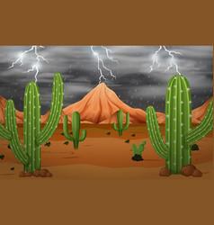Cactus in storm vector