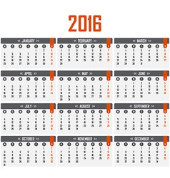 Calendar for 2016 Week starts on Monday vector image