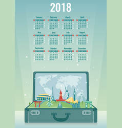 calendar for 2018 with famous wolrd landmarks vector image