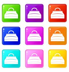 carpetbag icons 9 set vector image