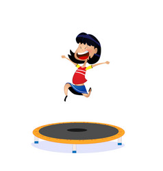 Cartoon girl jumping on trampoline vector