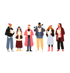 choir or group of cute men and woman dressed vector image