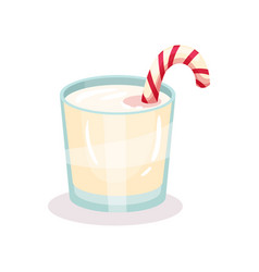 christmas milk drink with candy cane vector image