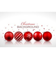 Christmas red balls with reflection vector image