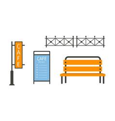 city street elements set fence bench cafe vector image