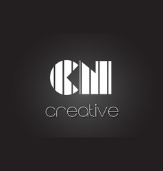 Cn c n letter logo design with white and black vector