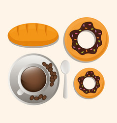 coffee cup bread dessert breakfast food vector image