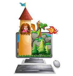 Computer screen with princess in the tower vector