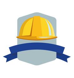 Construction helmet emblem with ribbon banner vector