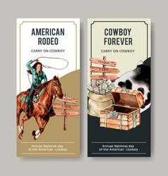 Cowboy flyer design with horse chest money vector