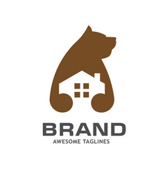 creative bear house logo vector image