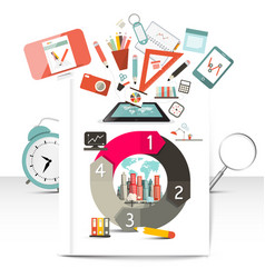 creative infographic items school and technology vector image