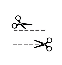 Cutting line and scissors vector