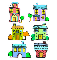 doodle of house set colorful art vector image