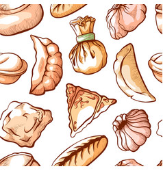 dumpling seamless pattern for restaurant art vector image